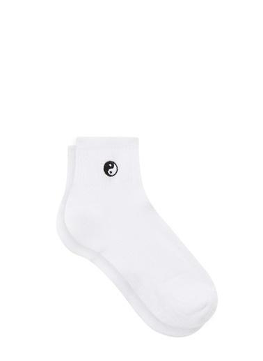 Mavi  Soket Çorap Beyaz